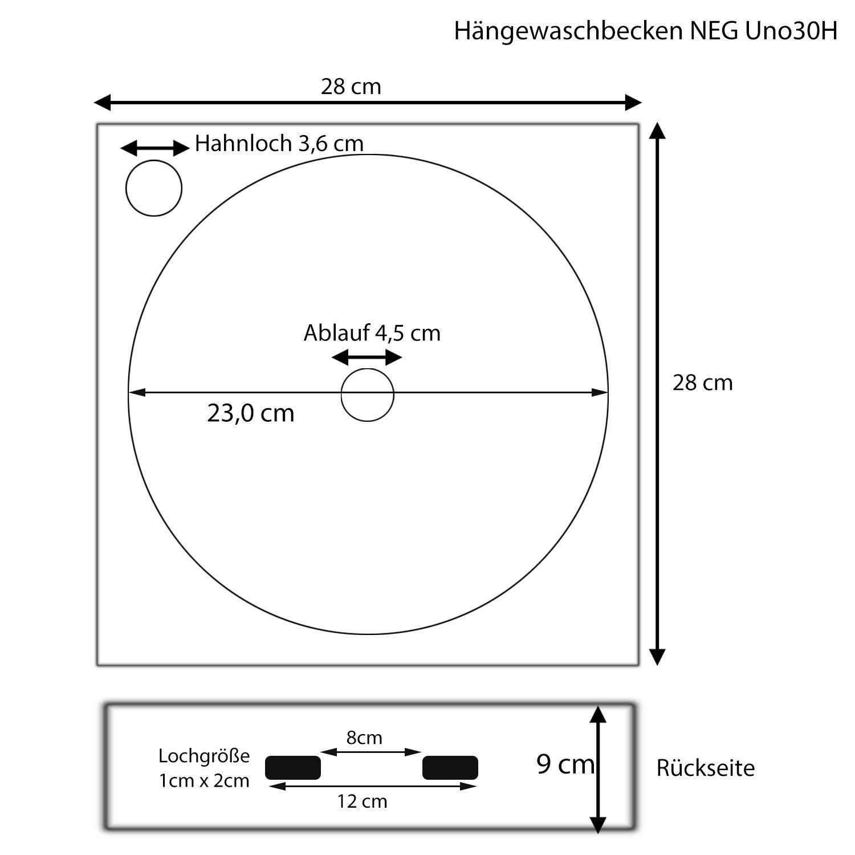 NEG Hänge-Waschbecken Uno30H (klein/eckig)